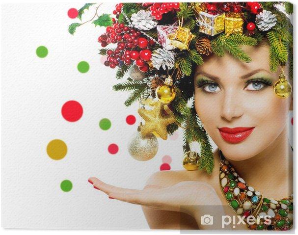 Leinwandbild Weihnachtsfrau Schone Ferien Weihnachtsbaum Frisur