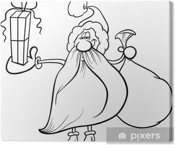 leinwandbild weihnachtsmann mit geschenk ausmalbilder