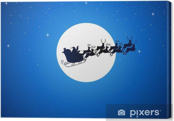 Leinwandbild Weihnachtsmann-Reiten seinem Schlitten über den Mond - Themen