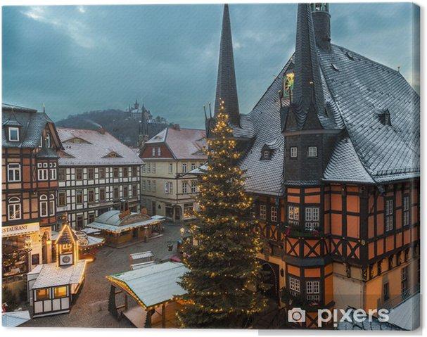 Wernigerode Weihnachtsmarkt.Leinwandbild Weihnachtsmarkt In Wernigerode