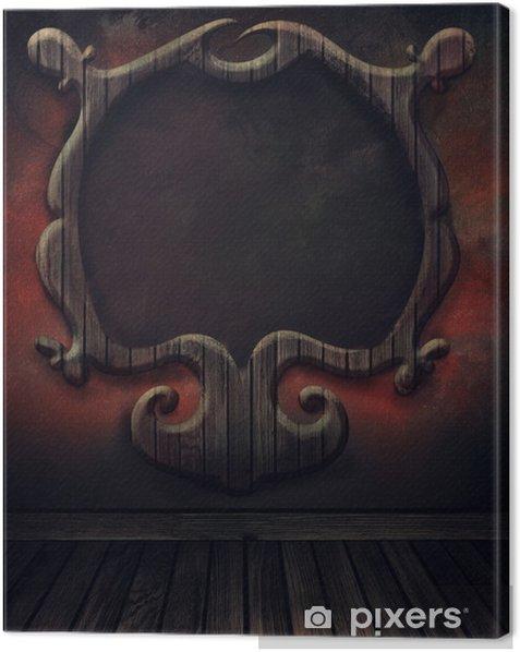 Leinwandbild Weinlese-Boden mit Wand und antiken Holzrahmen. Kunst abstrakte b - Öffentliche Gebäude