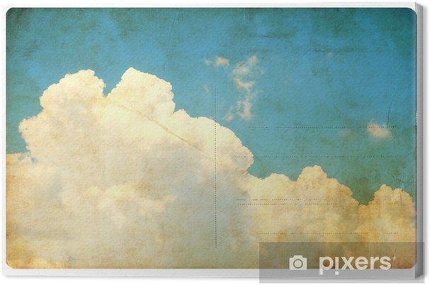 Leinwandbild Weinlese-Himmel und Wolken, Retro-Postkarte isoliert - Texturen