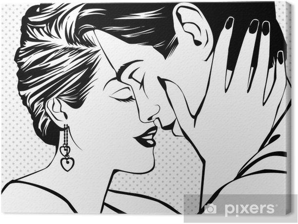 Leinwandbild Weinlese-Paare in der Liebe - Themen