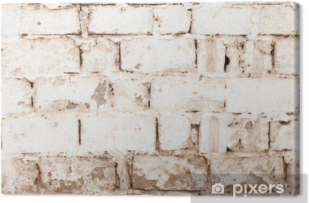 Leinwandbild Weiße backsteinwand - Texturen