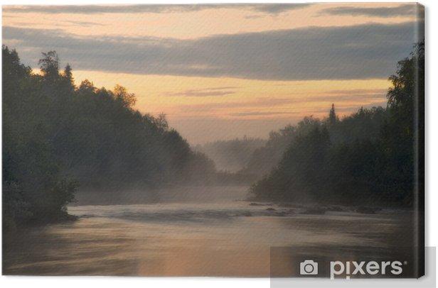 Leinwandbild Weiße Nacht auf dem Fluss Pana. Kola-Halbinsel. Pana River. - Freiluftsport