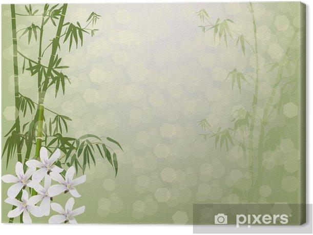 Leinwandbild Weißen Blüten und grünen Bambus - Pflanzen
