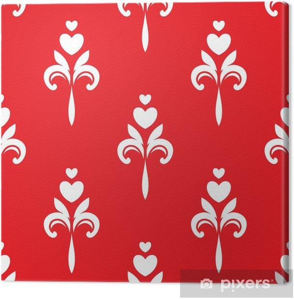 Leinwandbild Weißes Herz Ornamente auf rotem Hintergrund - Grafische Elemente
