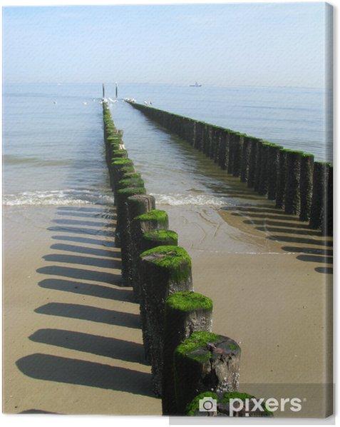 Leinwandbild Wellenbrecher an der Nordsee - Wasser