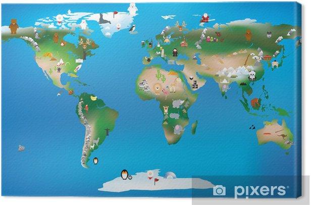 Leinwandbild Weltkarte für Kinder mit Karikaturen von Tieren und berühmten lan - Bereich