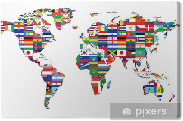 Leinwandbild Weltkarte mit Flaggen - iStaging