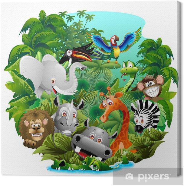 Leinwandbild Wilde Tiere auf Cartoon Jungle-Jungle Wild Animals - Säugetiere
