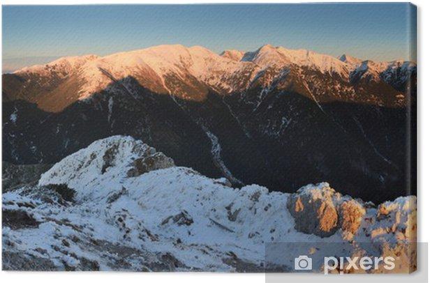 Leinwandbild Winter Sonnenuntergang in den Bergen der Hohen Tatra - Slowakei - Berge