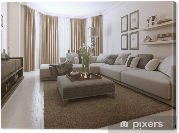 Leinwandbild Wohnzimmer im zeitgenössischen Stil