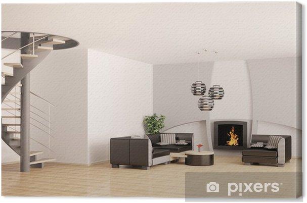 Leinwandbild Wohnzimmer mit treppe und kamin 3d