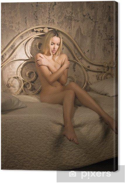 Leinwandbild Wunderschöne nackte blonde im Schlafzimmer