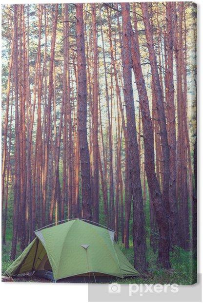 Leinwandbild Zelt im Wald - Urlaub