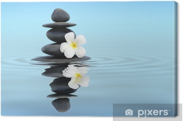 Leinwandbild Zen-Steine mit Frangipani - Religion