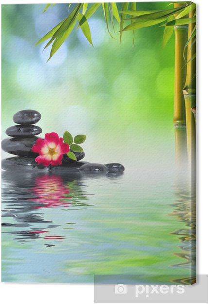 Leinwandbild Zen Steinen Rosa Und Bambus In Wasser Pixers Wir