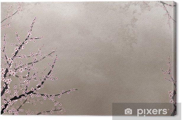 Leinwandbild Zierkirsche Baum auf grobe Hintergrund mit Platz für Text - Hintergründe