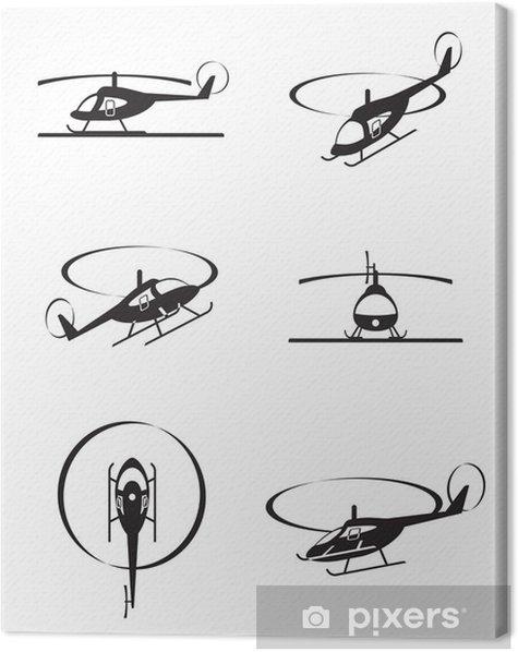 Leinwandbild Zivile Hubschrauber in der Perspektive - Vektor-Illustration - Luftverkehr