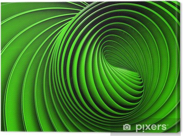 Lerretsbilde Abstrakt 3d spiral eller snurre i grønn tonet -