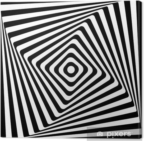 Lerretsbilde Abstrakt Kvadratisk Spiral Svart og Hvitt Mønster Bakgrunn. -