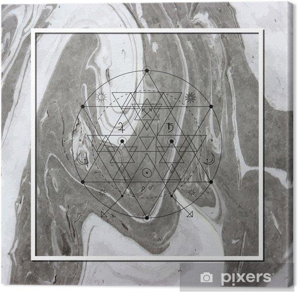 Lerretsbilde Abstrakt mystisk geometri, lineær alkymi, okkult, filosofisk tegn. - Grafiske Ressurser