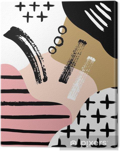 Lerretsbilde Abstrakt skandinavisk komposisjon i svart, hvitt og pastellrosa. - Grafiske Ressurser