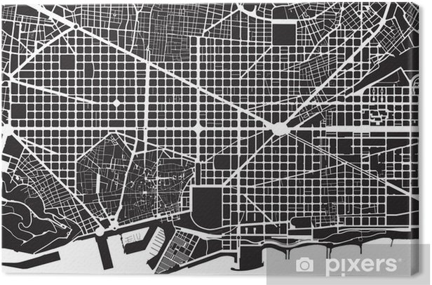 Lerretsbilde Barcelona svart hvit byplan - gate tekstur -