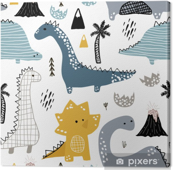 f051522c6 Lerretsbilde Barnlig sømløs mønster med hånddrekket dino i skandinavisk  stil. kreativ vektor barnslig bakgrunn for stoff, tekstil
