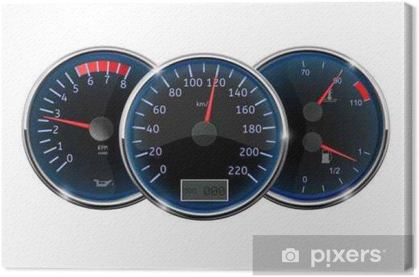 lerretsbilde bilens dashbord hastighetsmåler takometer