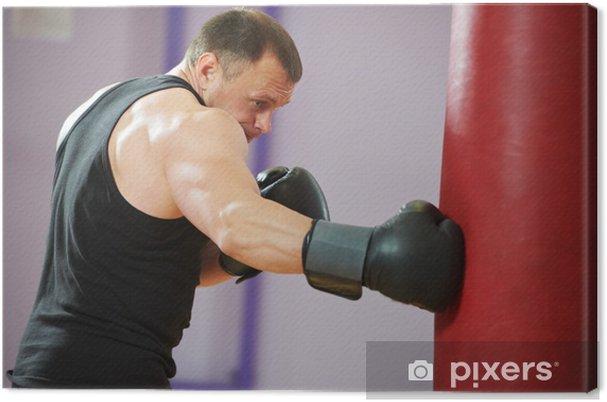 ca870c8f Lerretsbilde Bokser mann på boksing trening med tung bag • Pixers ...