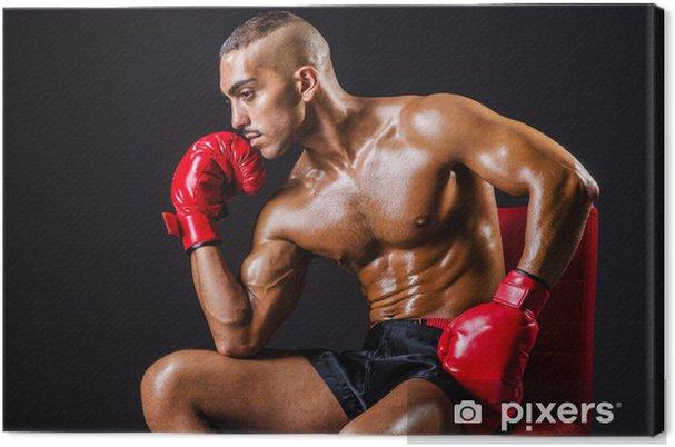 ca2e427b Lerretsbilde Boxer med røde hansker i mørkt rom • Pixers® - Vi lever ...