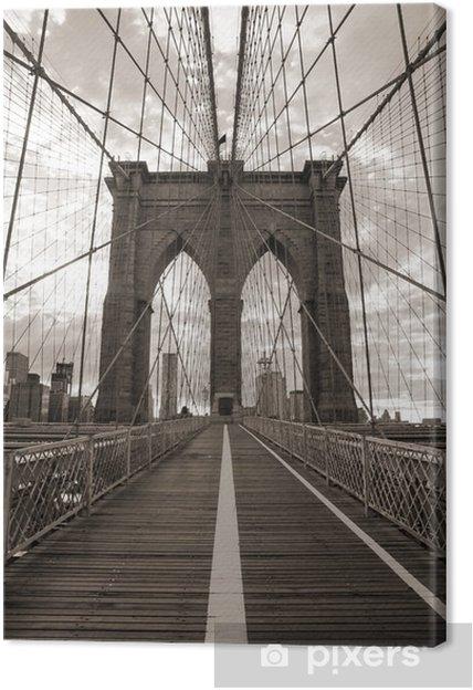 Lerretsbilde Brooklyn Bridge i New York City. Sepia tone. -