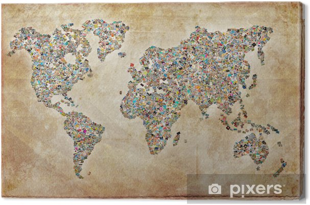 Lerretsbilde Carte du monde bilder, tekstur vintage - Themes