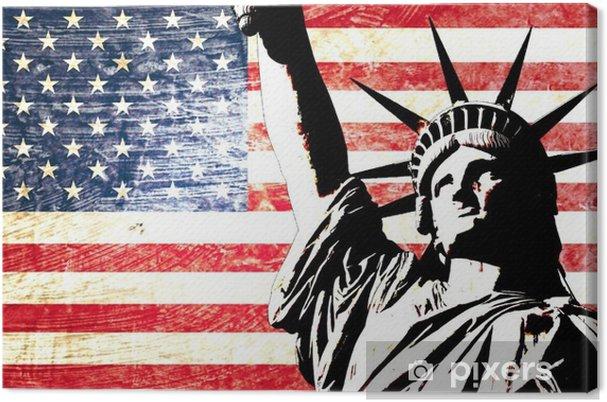 Lerretsbilde Drapeau usa statue de la liberte -
