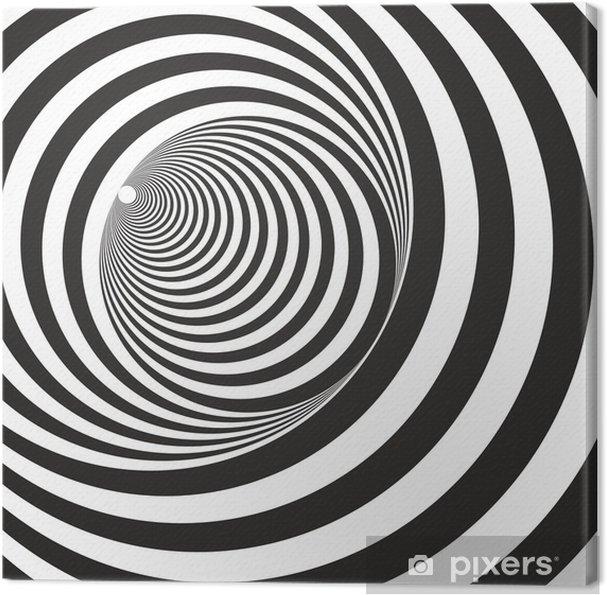 Lerretsbilde En svart og hvit lettelse tunnel. Optisk illusjon - Illusion