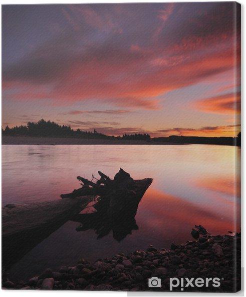 Lerretsbilde Fiery himmel på elva i New Zealand -