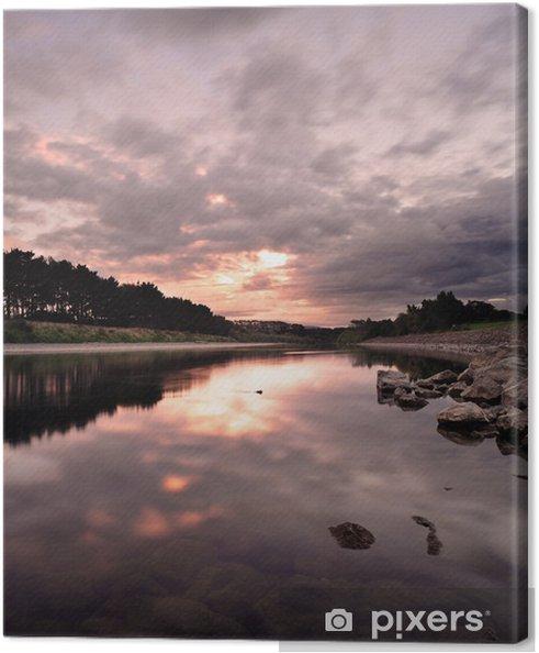 Lerretsbilde Flytende elv om kvelden i New Zealand -