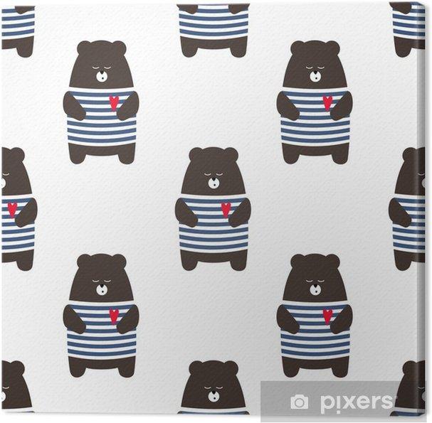 ef2905e4 Lerretsbilde Fransk stil bjørn sømløs mønster. Søt tegneserie parisisk  nallebjørn vektor illustrasjon. Barn tegning stil dyr bakgrunn. Design for  stoff ...