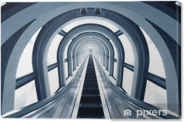 Lerretsbilde Futuristisk tunnel og rulletrapp av stål og metall, interiørvisning - Bygg og Arkitektur