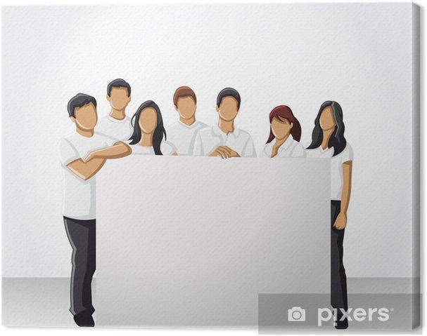 0940e935 Lerretsbilde Gruppe folk som bærer hvite klær, holder hvitt bord - Grupper  og Folkemengder