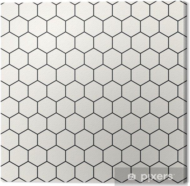 Lerretsbilde Heksagon geometrisk svart og hvitt grafisk mønster - Grafiske Ressurser