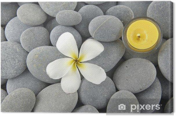 f8e7cfee Lerretsbilde Hvite frangipani blomster og stearinlys på gråsteinstein  tekstur
