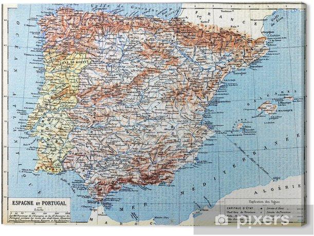 Lerretsbilde Kart Over Spania Og Portugal Pixers Vi Lever For