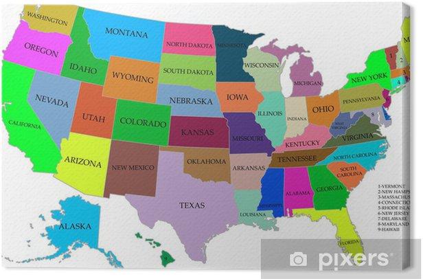Lerretsbilde Kart Over Usa Med Stater Pixers Vi Lever For