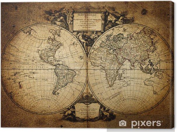 Lerretsbilde Kart over verden 1752 -