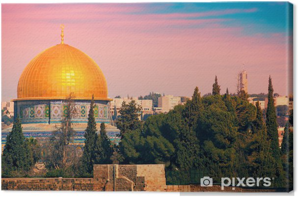 Lerretsbilde Klosterkroppen på tempelberget i Jerusalem ved solnedgang - Midtøsten