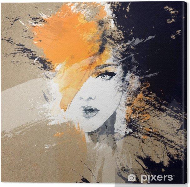 Lerretsbilde Kvinne portrett. Abstrakt akvarell. Fashion bakgrunn - Mennesker