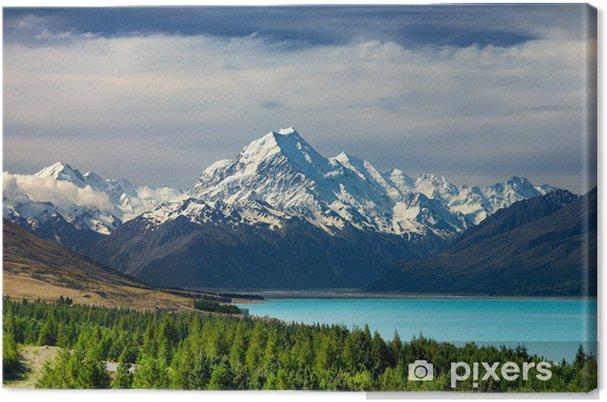 Lerretsbilde Mount Cook og Pukaki innsjø, New Zealand - Oseania